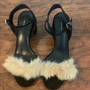 Furry ankle strap heels